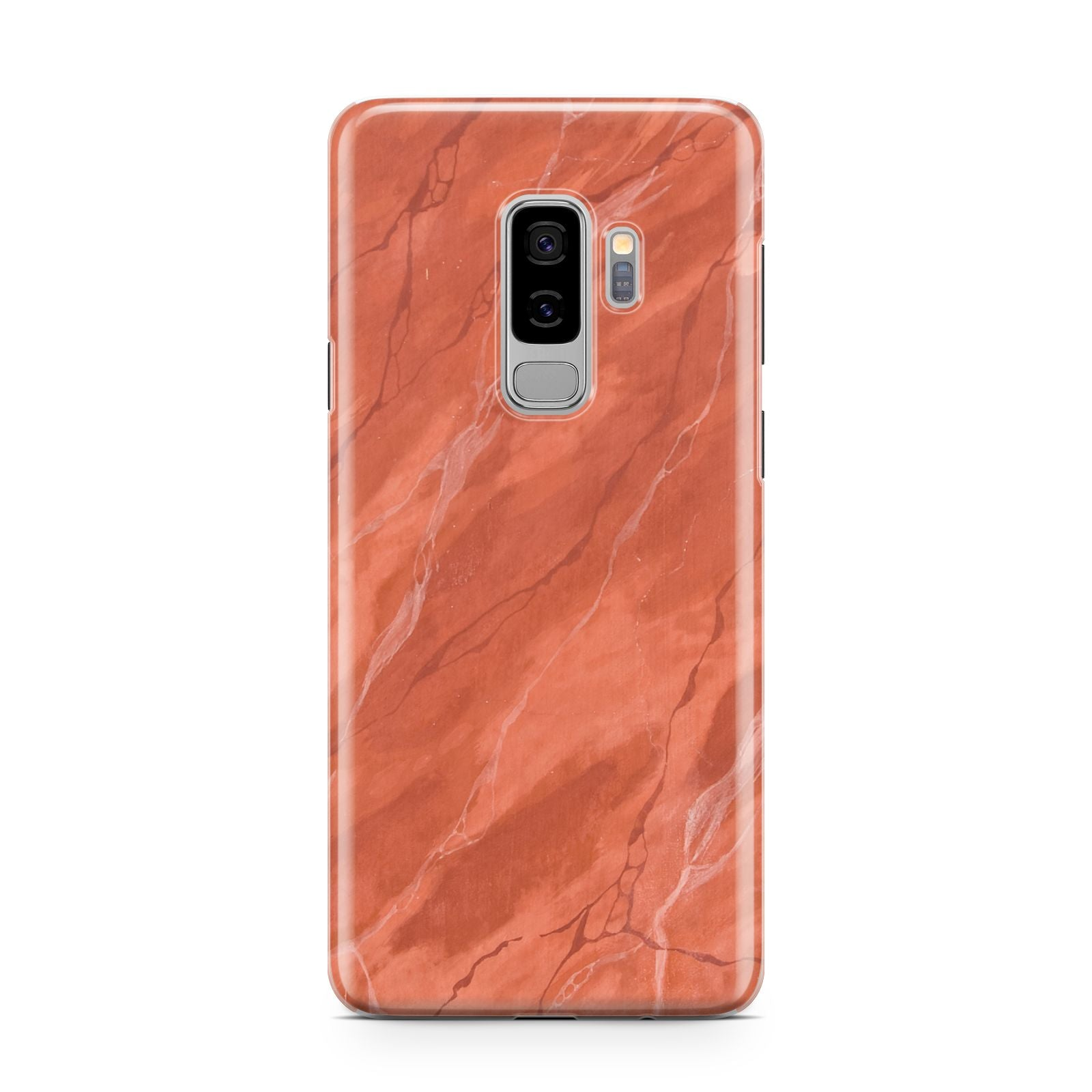 Faux Marble Red Orange Samsung Galaxy S9 Plus Case on Silver phone