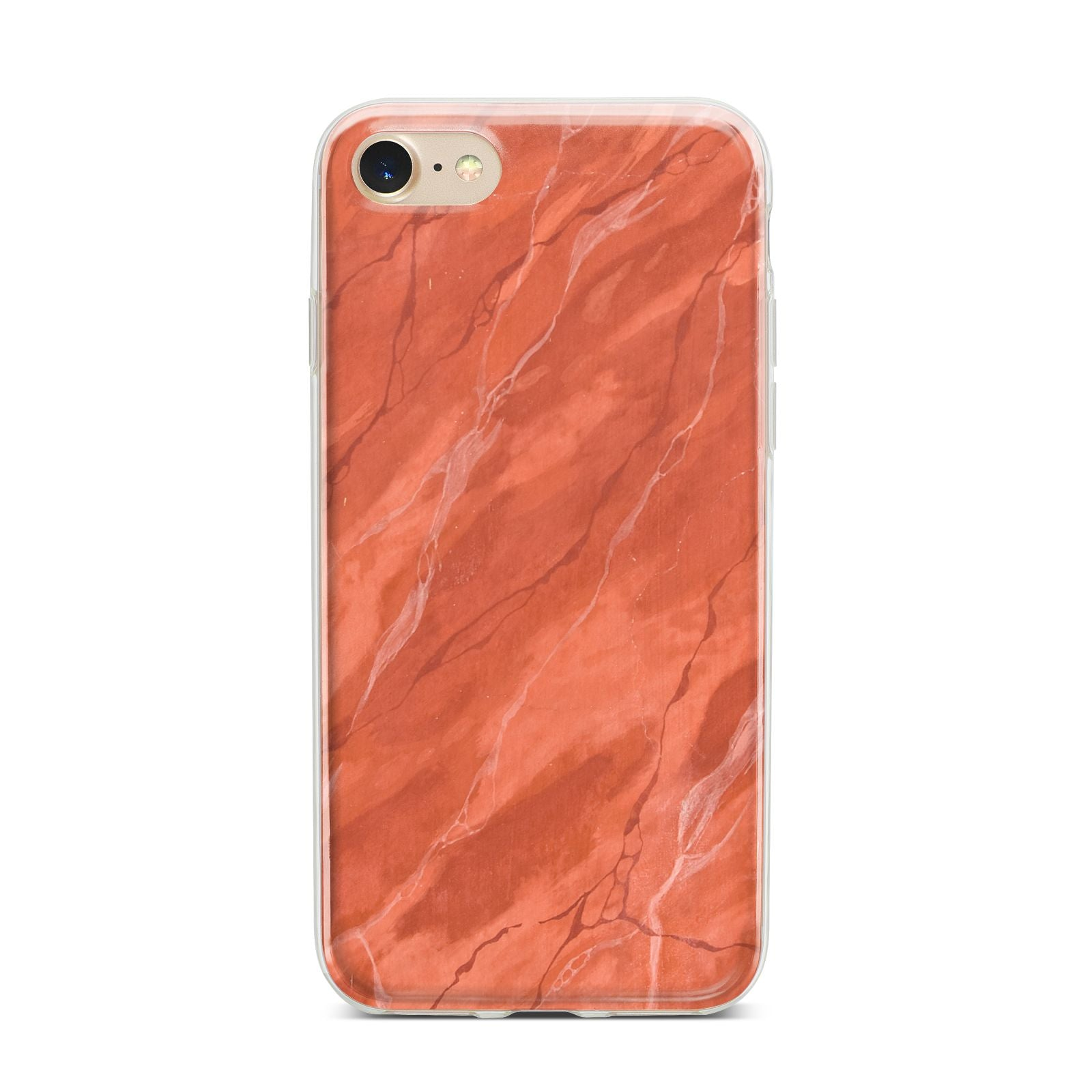 Faux Marble Red Orange iPhone 7 Bumper Case on Gold iPhone