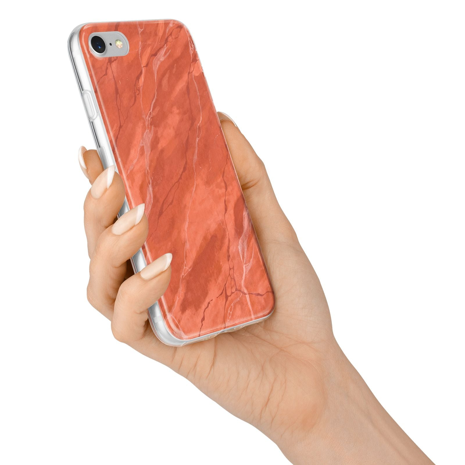 Faux Marble Red Orange iPhone 7 Bumper Case on Silver iPhone Alternative Image
