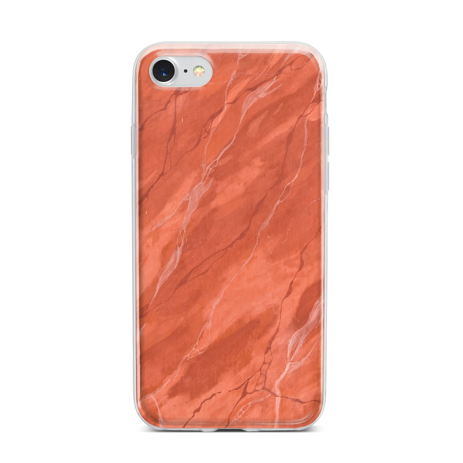 Faux Marble Red Orange iPhone 7 Bumper Case on Silver iPhone
