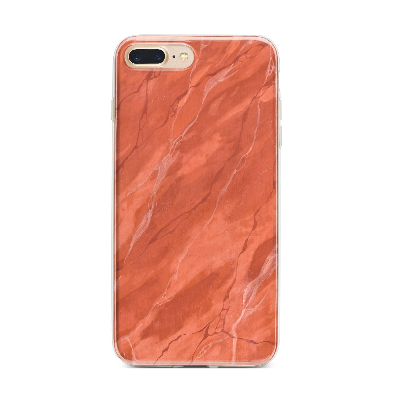 Faux Marble Red Orange iPhone 7 Plus Bumper Case on Gold iPhone