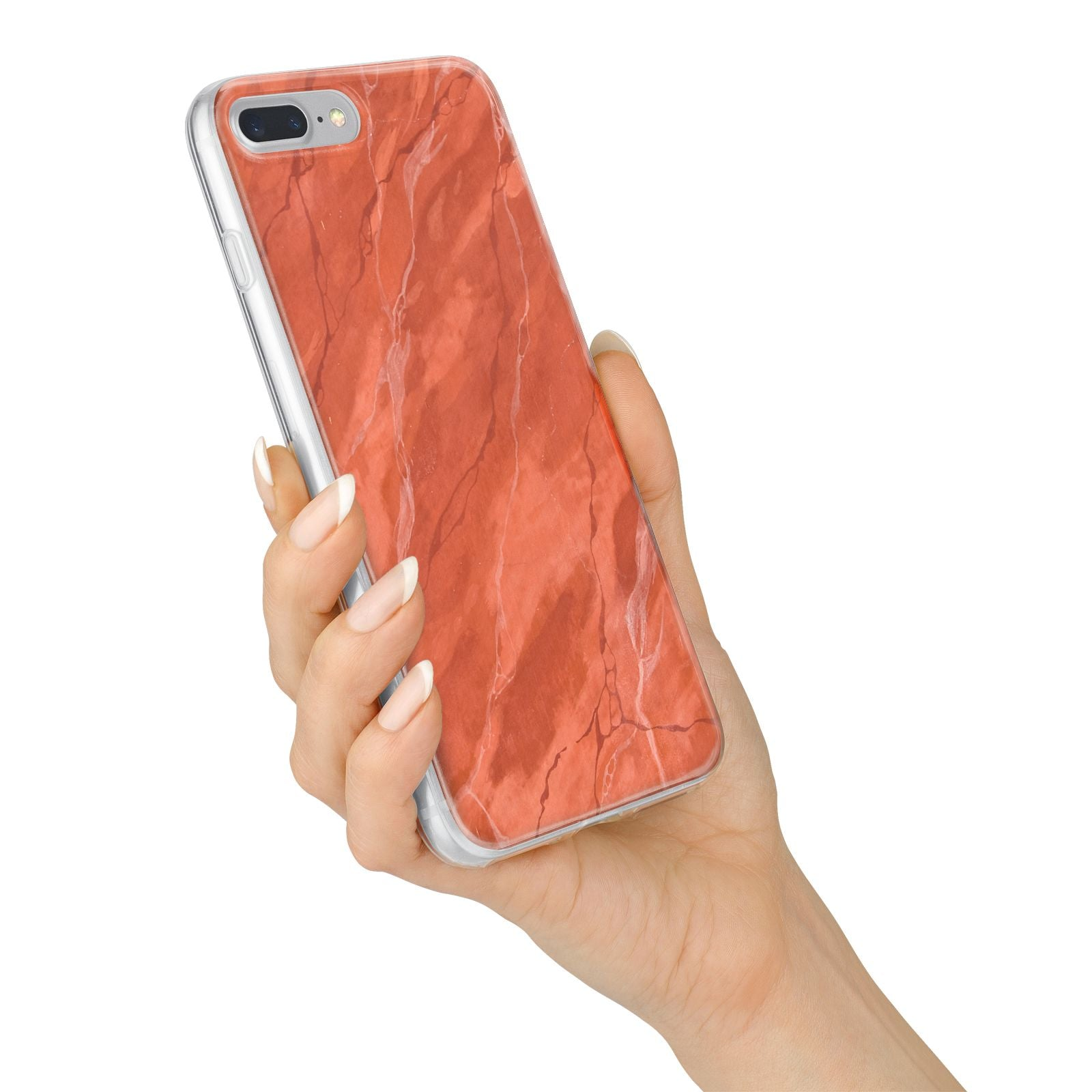 Faux Marble Red Orange iPhone 7 Plus Bumper Case on Silver iPhone Alternative Image