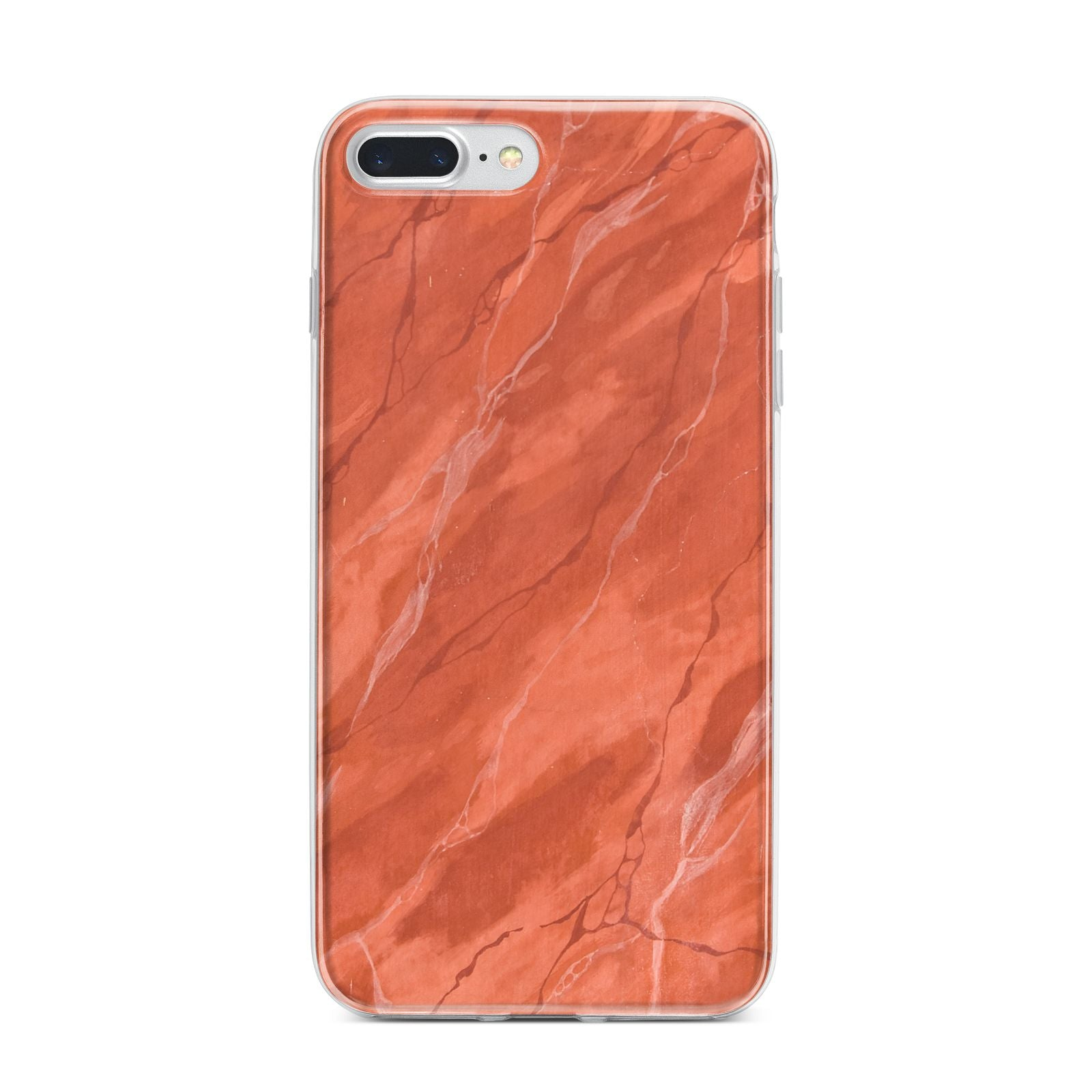 Faux Marble Red Orange iPhone 7 Plus Bumper Case on Silver iPhone