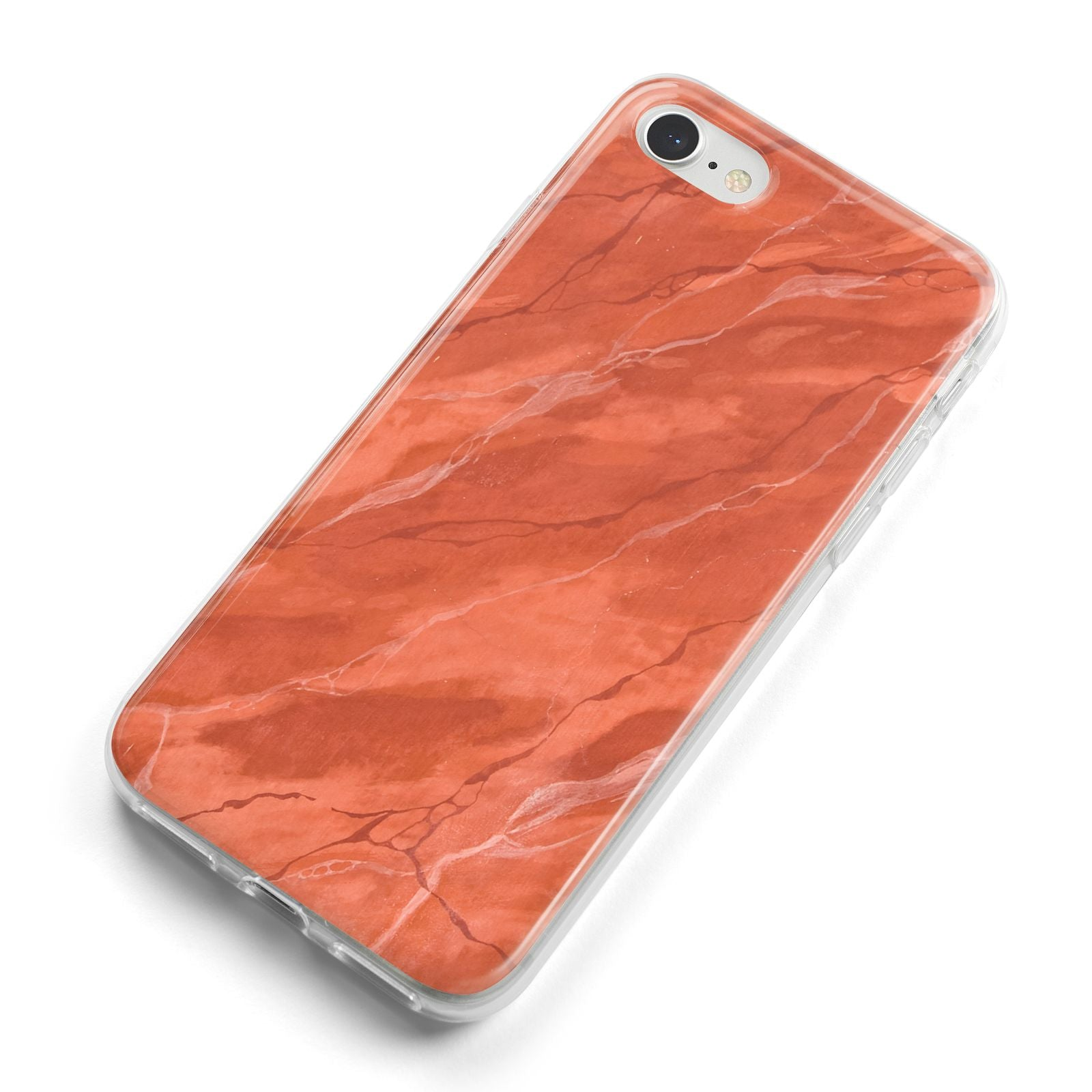 Faux Marble Red Orange iPhone 8 Bumper Case on Silver iPhone Alternative Image