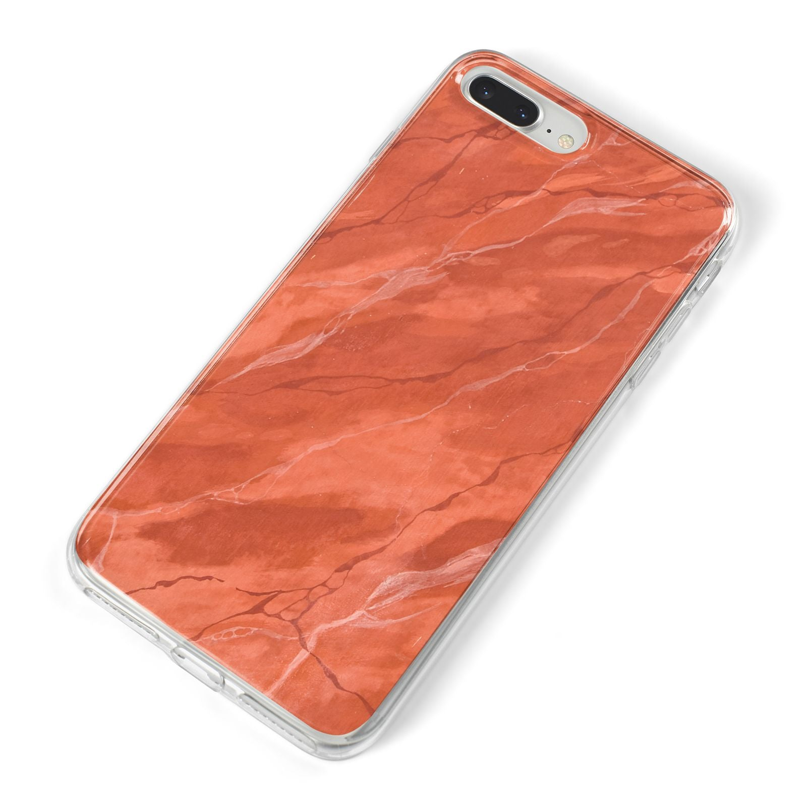 Faux Marble Red Orange iPhone 8 Plus Bumper Case on Silver iPhone Alternative Image