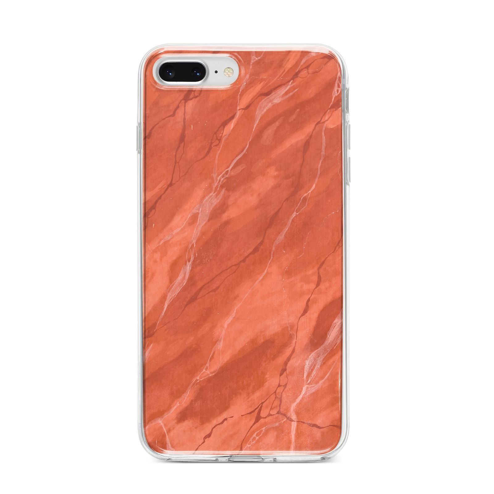 Faux Marble Red Orange iPhone 8 Plus Bumper Case on Silver iPhone