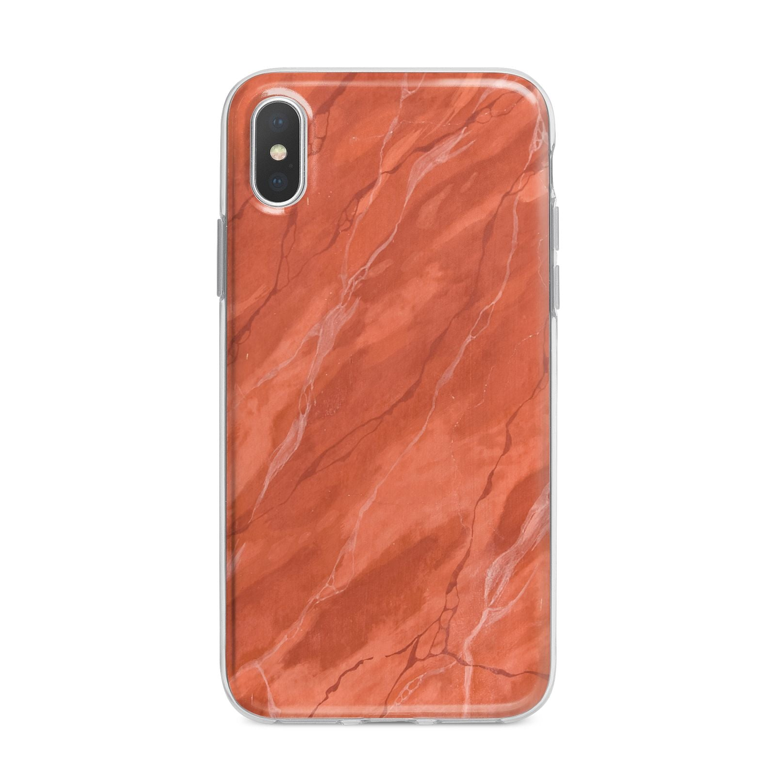 Faux Marble Red Orange iPhone X Bumper Case on Silver iPhone Alternative Image 1