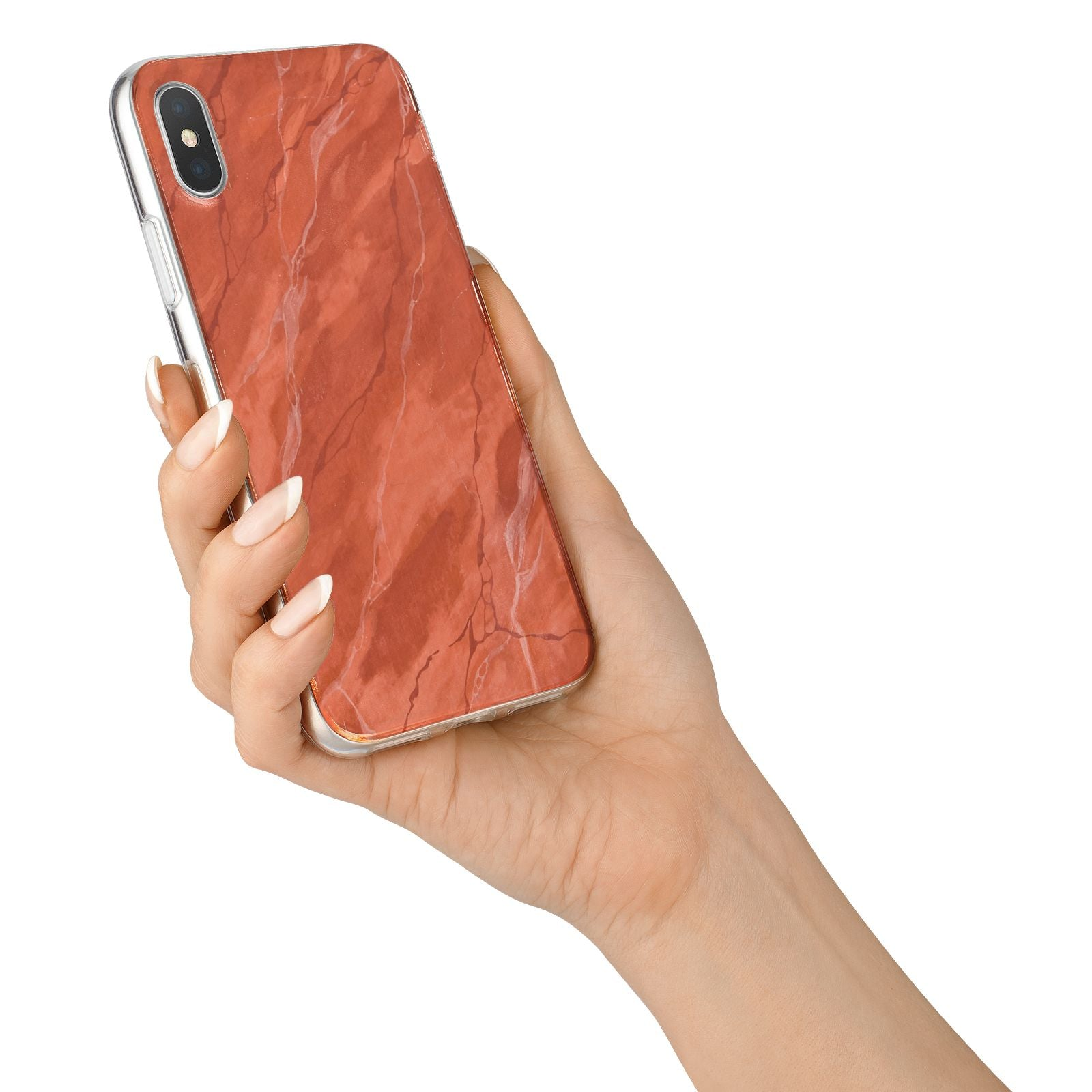 Faux Marble Red Orange iPhone X Bumper Case on Silver iPhone Alternative Image 2