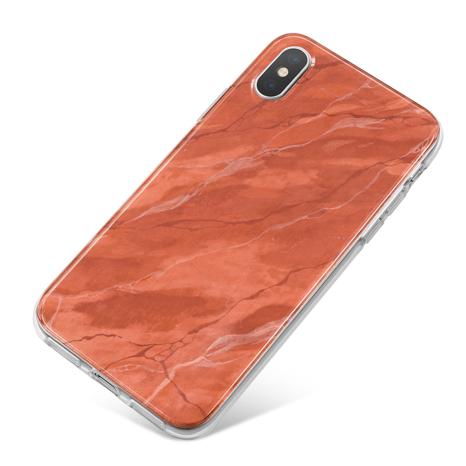 Faux Marble Red Orange iPhone X Bumper Case on Silver iPhone