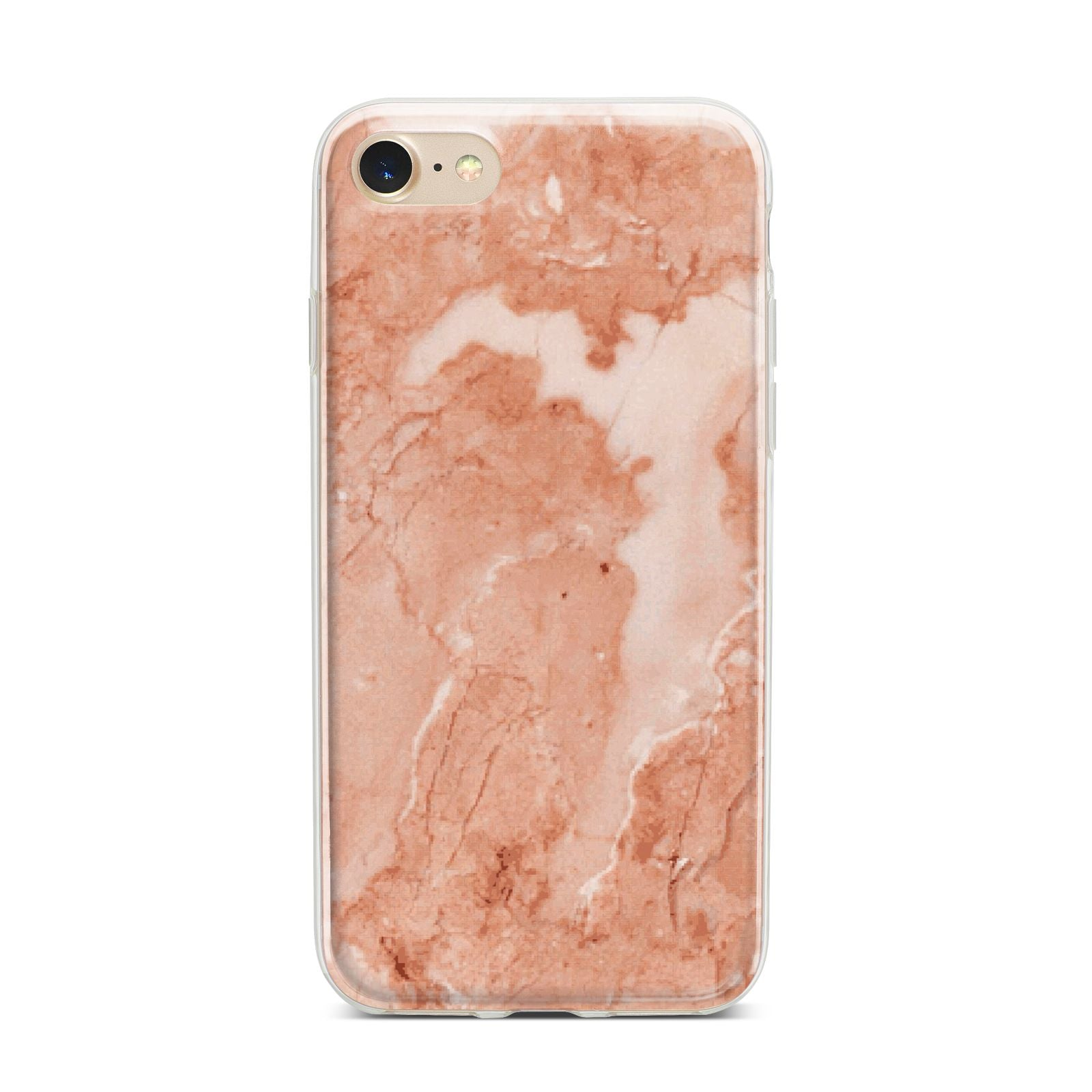 Faux Marble Red iPhone 7 Bumper Case on Gold iPhone