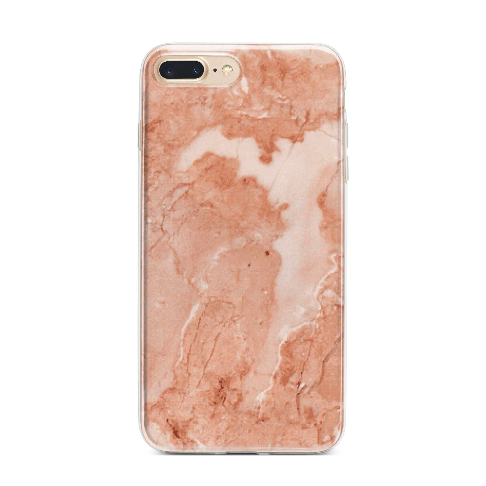 Faux Marble Red iPhone 7 Plus Bumper Case on Gold iPhone