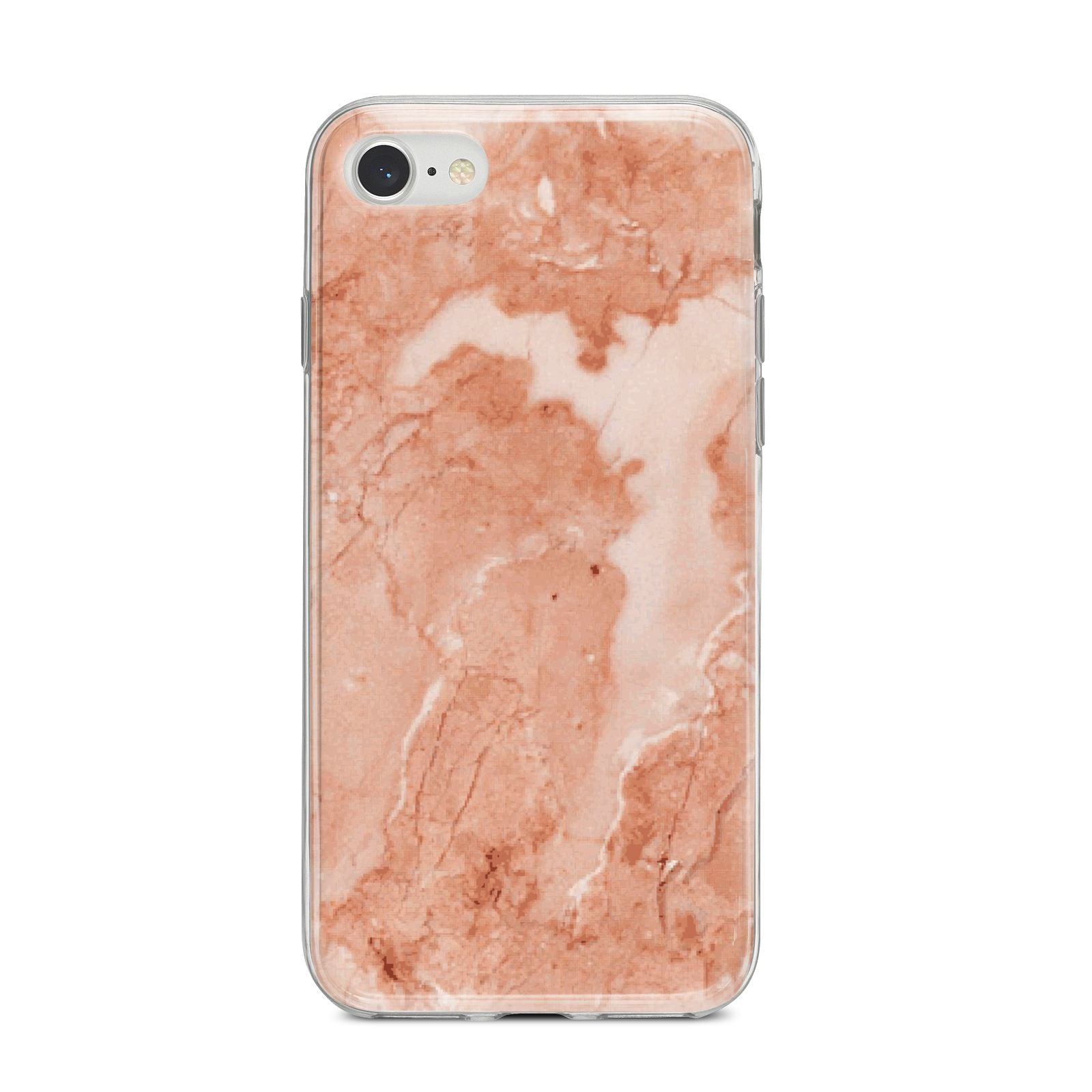 Faux Marble Red iPhone 8 Bumper Case on Silver iPhone
