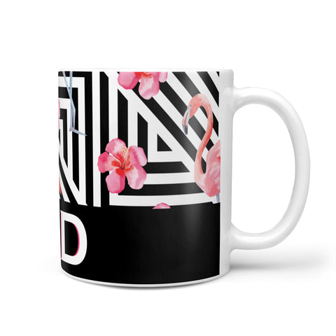 Flamingo Black Geometric Mug