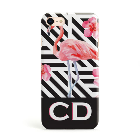 Flamingo Black Geometric Apple iPhone Case