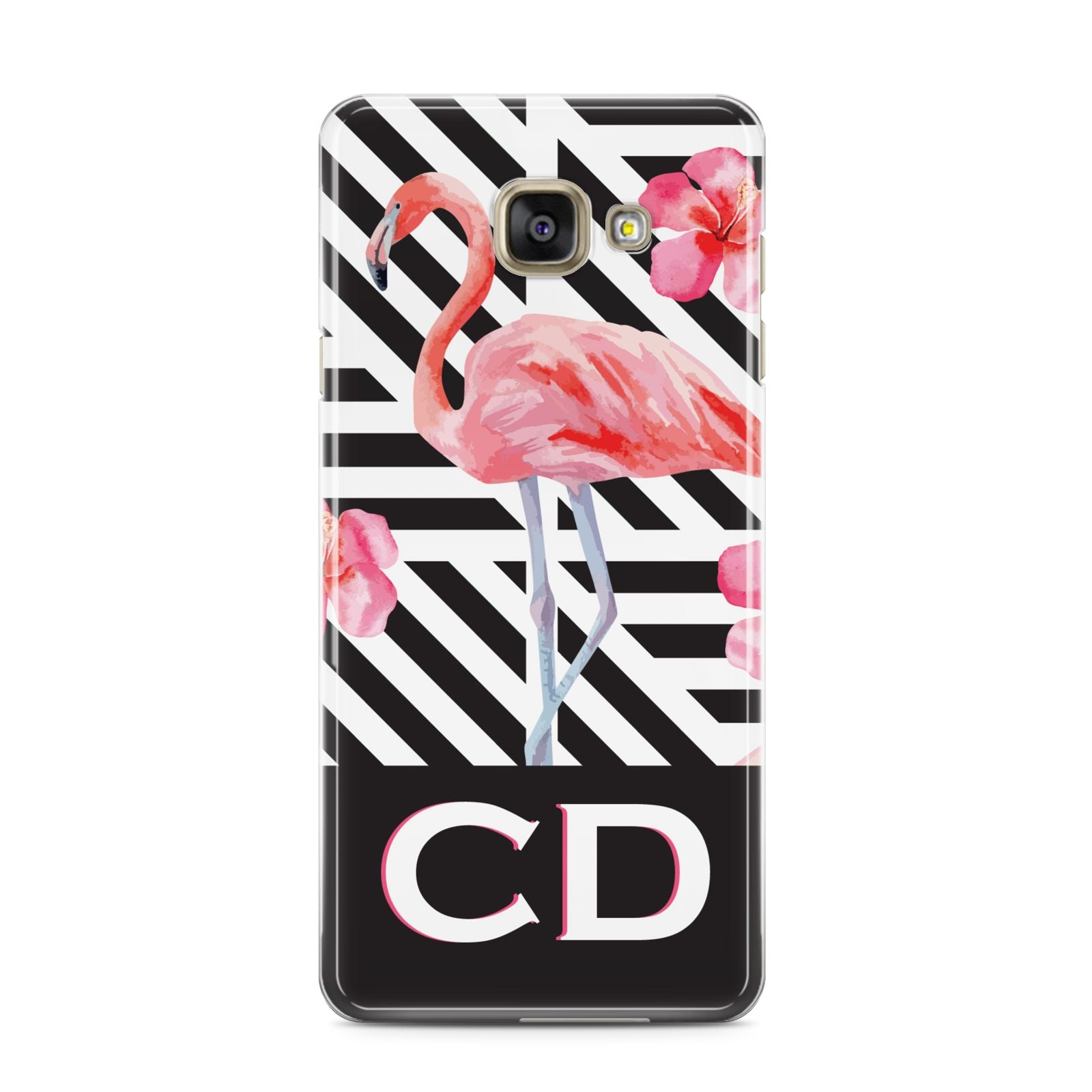 Flamingo Black Geometric Samsung Galaxy A3 2016 Case on gold phone