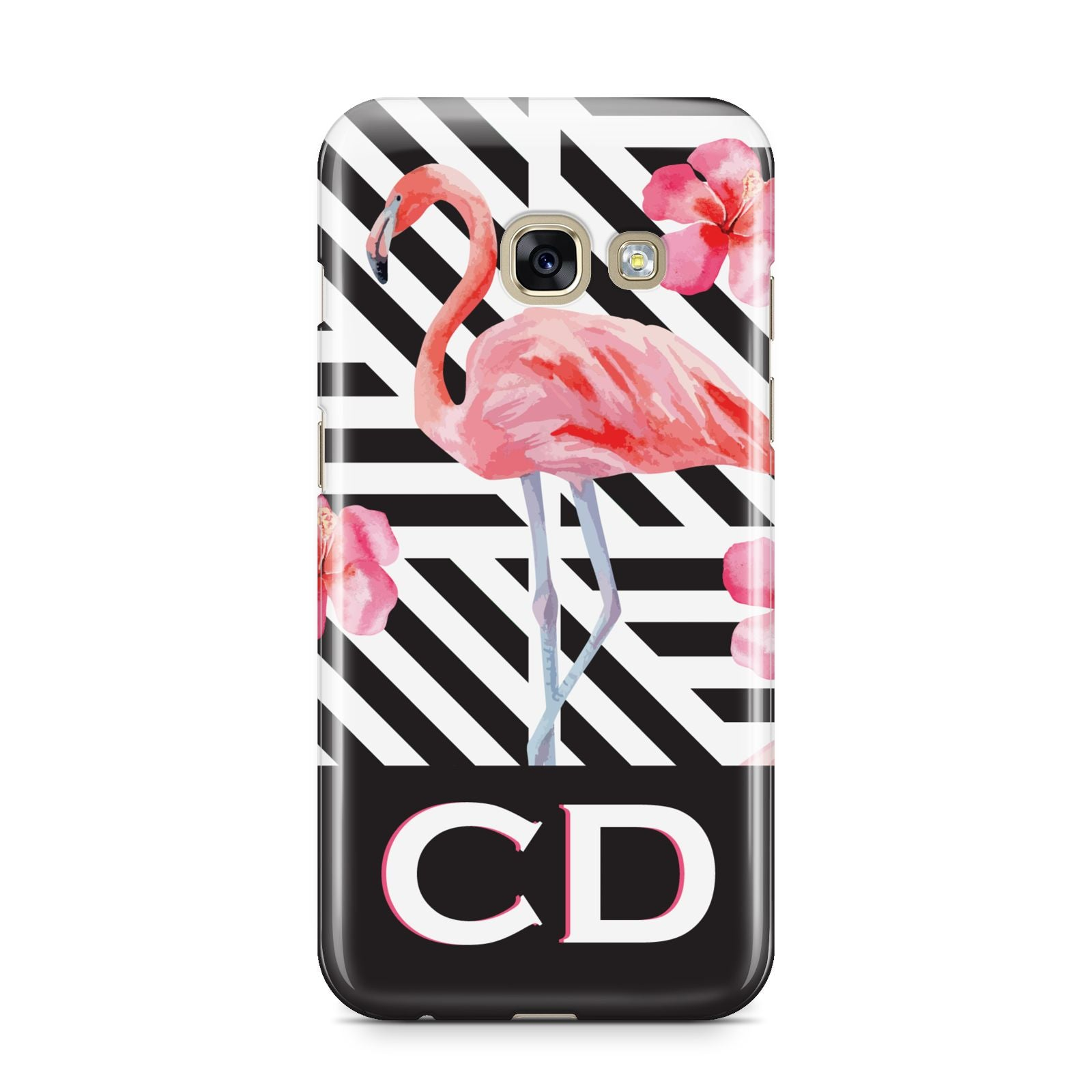 Flamingo Black Geometric Samsung Galaxy A3 2017 Case on gold phone
