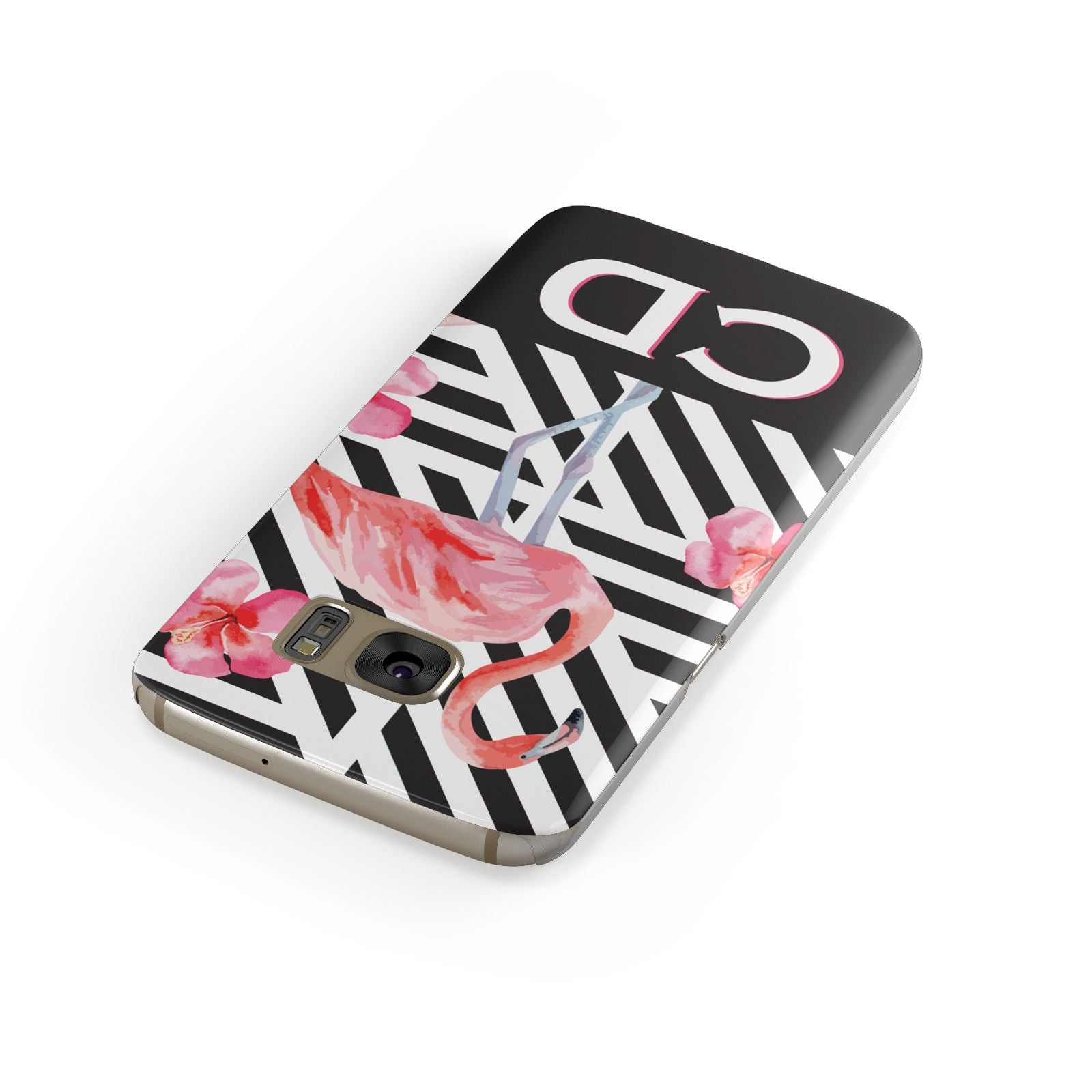 Flamingo Black Geometric Samsung Galaxy Case Front Close Up