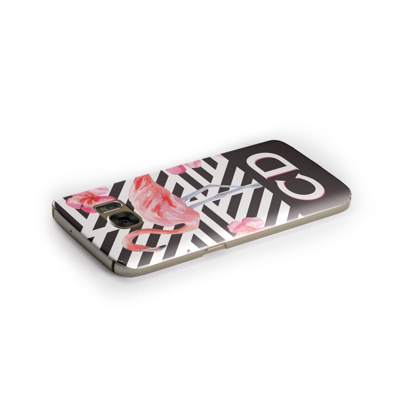 Flamingo Black Geometric Samsung Galaxy Case Side Close Up