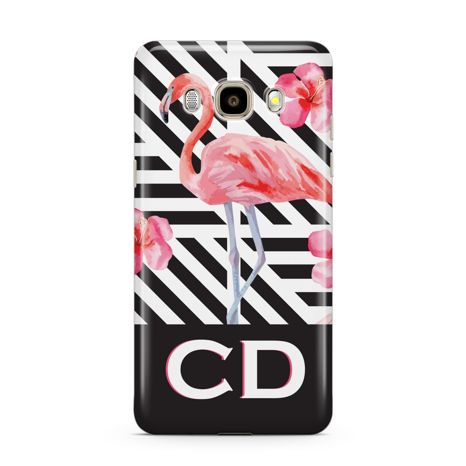 Flamingo Black Geometric Samsung Galaxy J7 2016 Case on gold phone