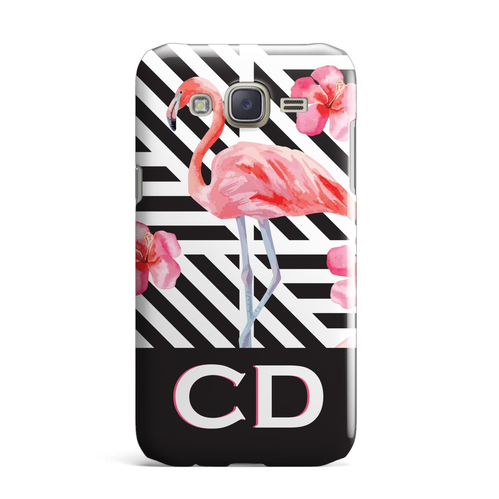 Flamingo Black Geometric Samsung Galaxy J7 Case