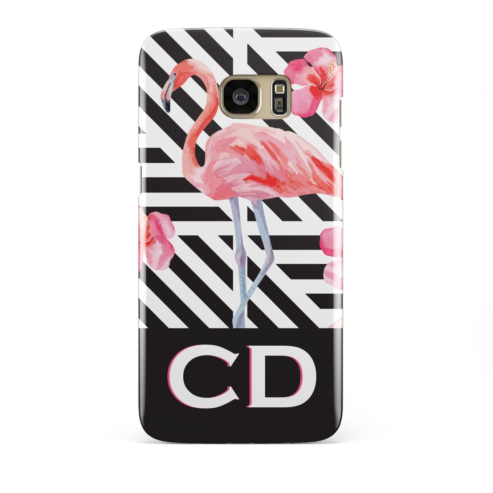 Flamingo Black Geometric Samsung Galaxy S7 Edge Case