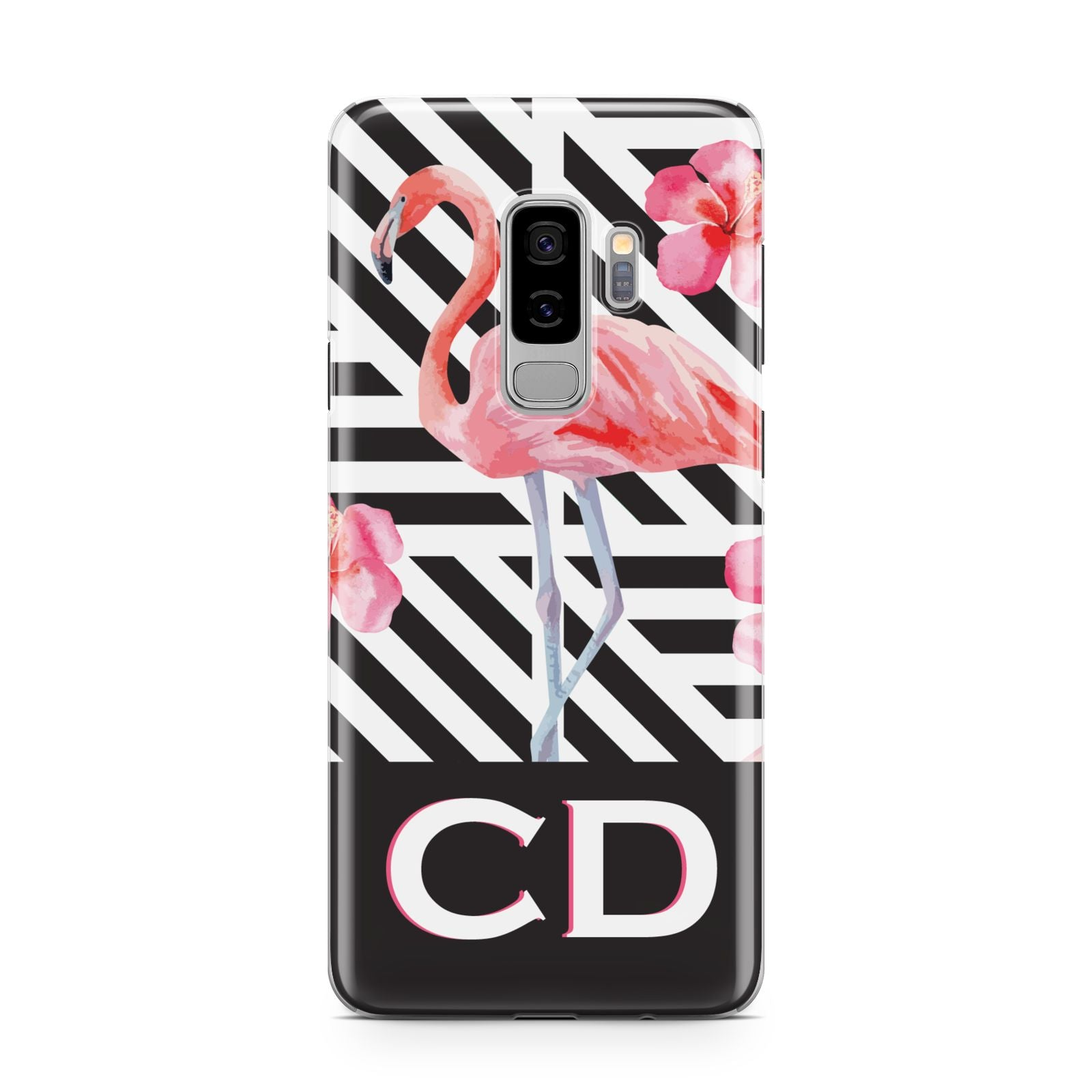 Flamingo Black Geometric Samsung Galaxy S9 Plus Case on Silver phone