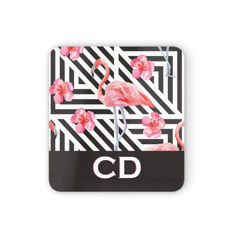 Flamingo Black Geometric Coasters set of 4