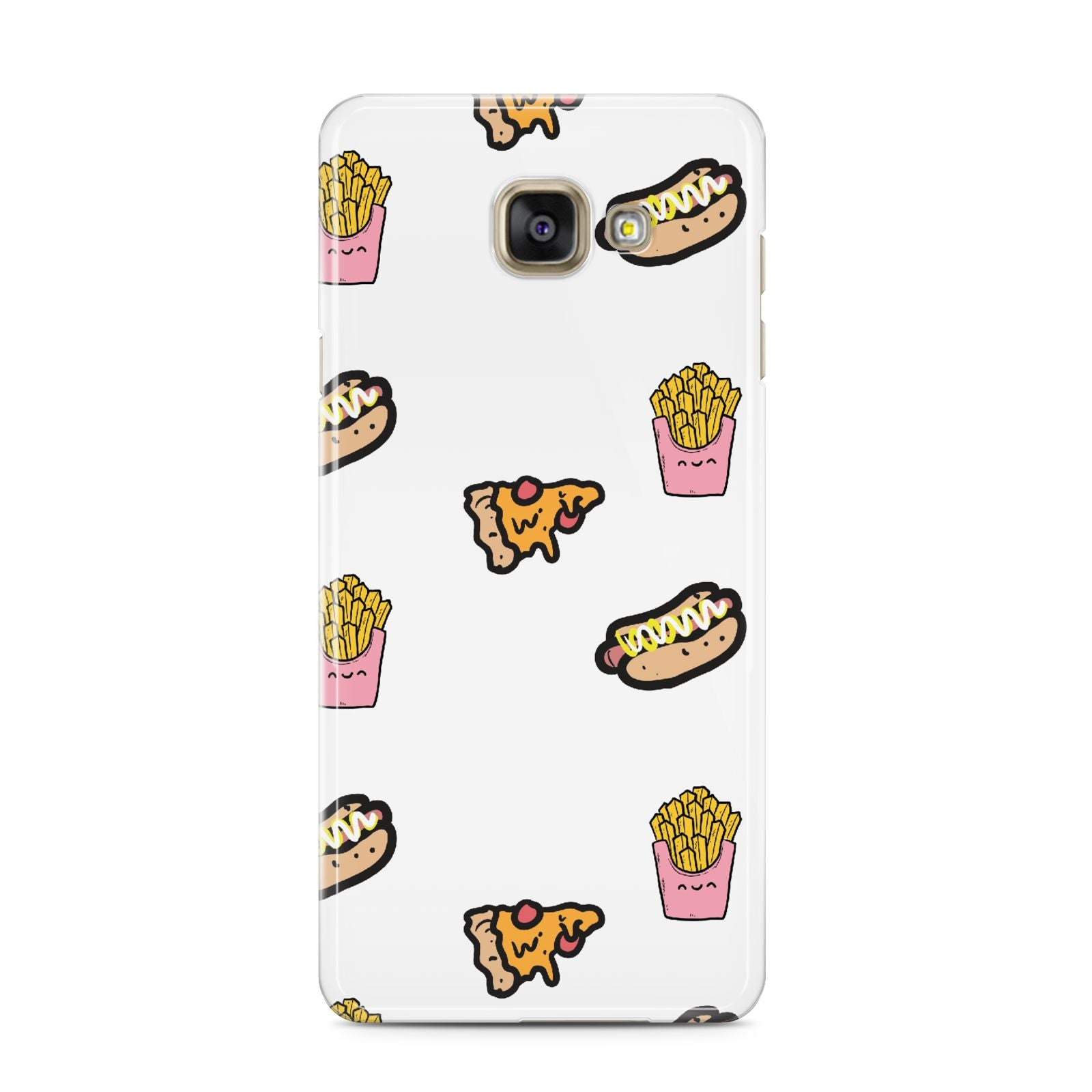 Fries Pizza Hot Dog Samsung Galaxy A3 2016 Case on gold phone