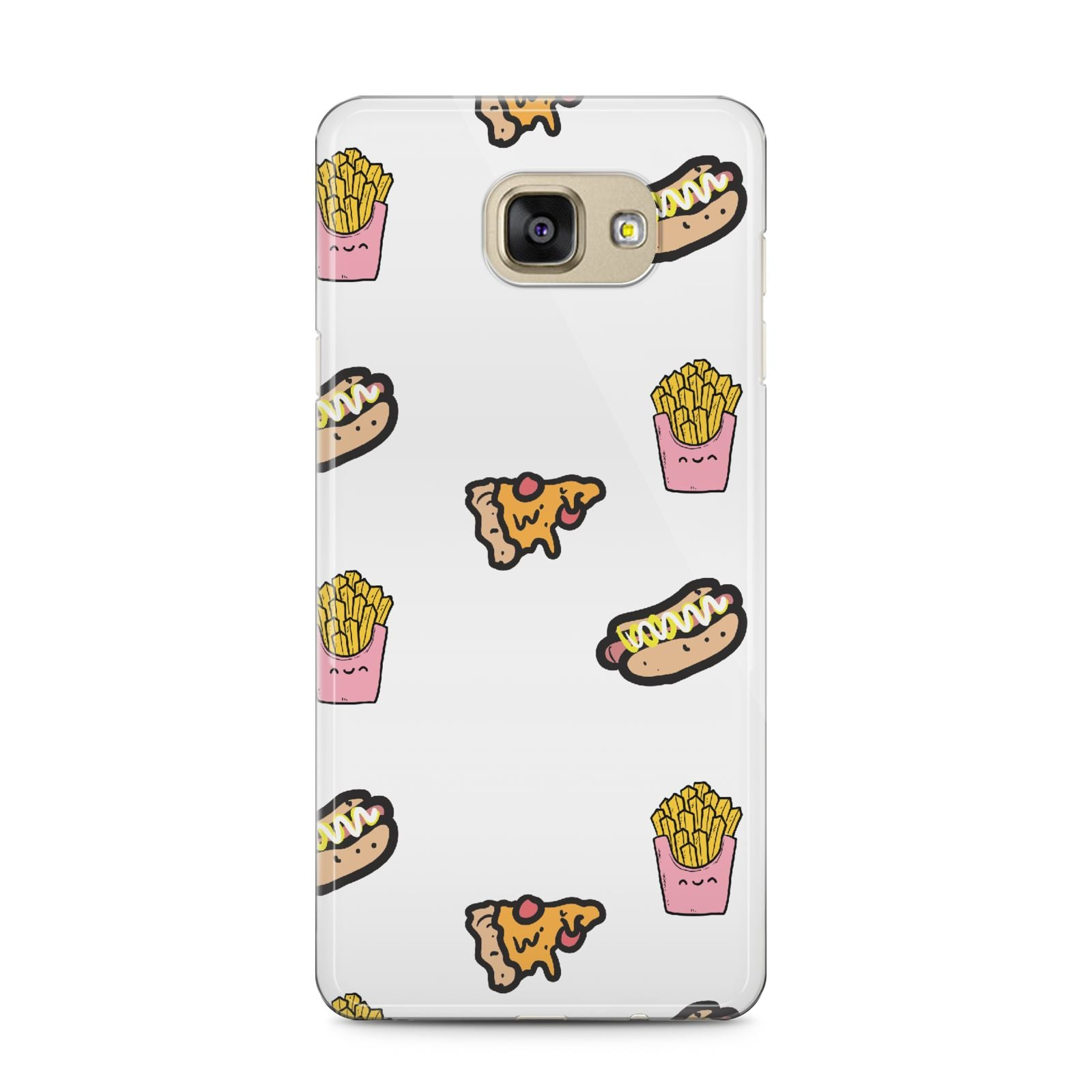 Fries Pizza Hot Dog Samsung Galaxy A5 2016 Case on gold phone