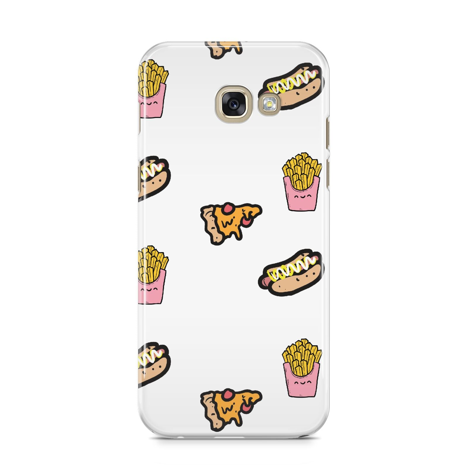 Fries Pizza Hot Dog Samsung Galaxy A5 2017 Case on gold phone