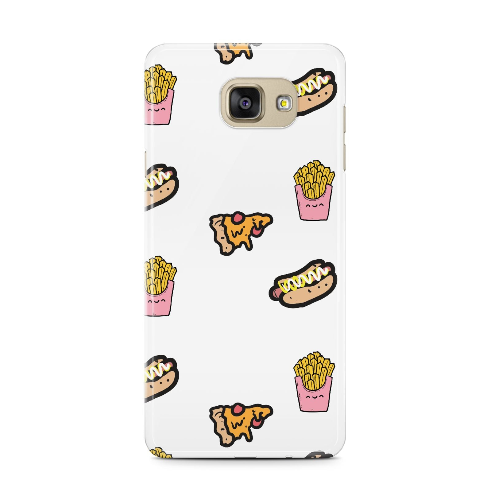 Fries Pizza Hot Dog Samsung Galaxy A7 2016 Case on gold phone