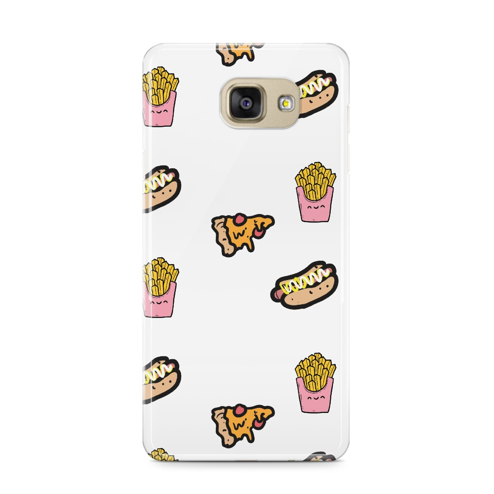 Fries Pizza Hot Dog Samsung Galaxy A9 2016 Case on gold phone