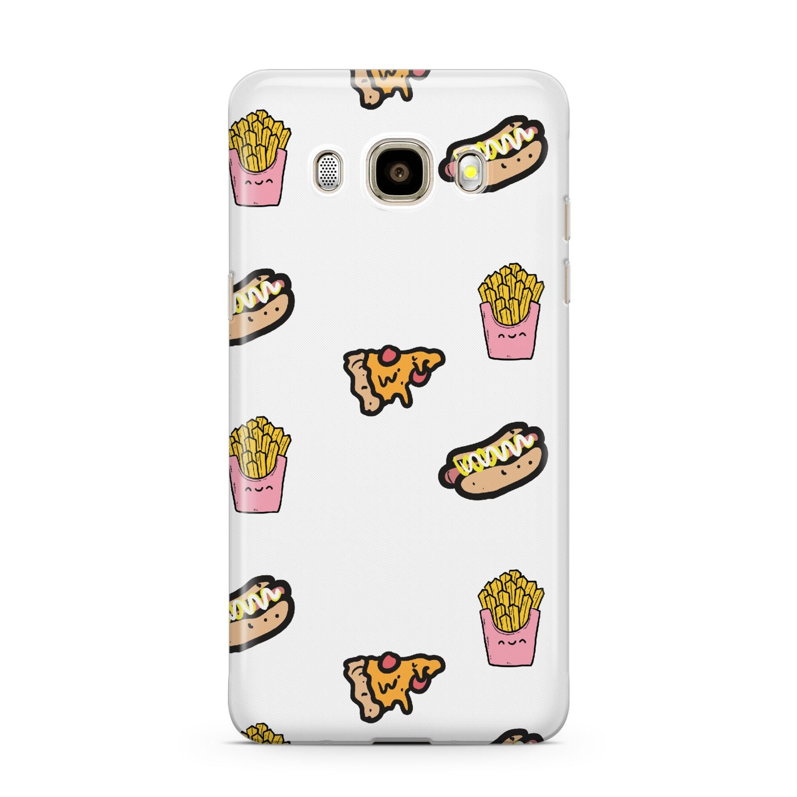 Fries Pizza Hot Dog Samsung Galaxy J7 2016 Case on gold phone