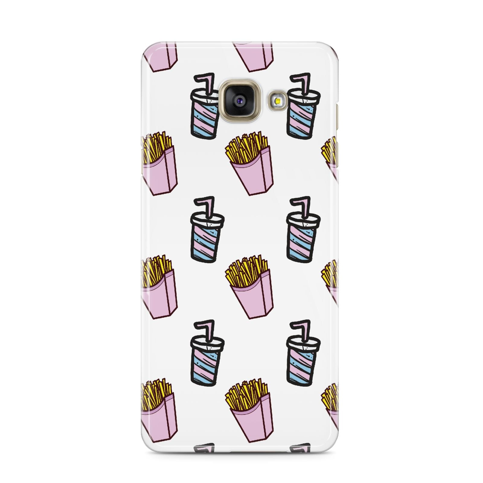 Fries Shake Fast Food Samsung Galaxy A3 2016 Case on gold phone