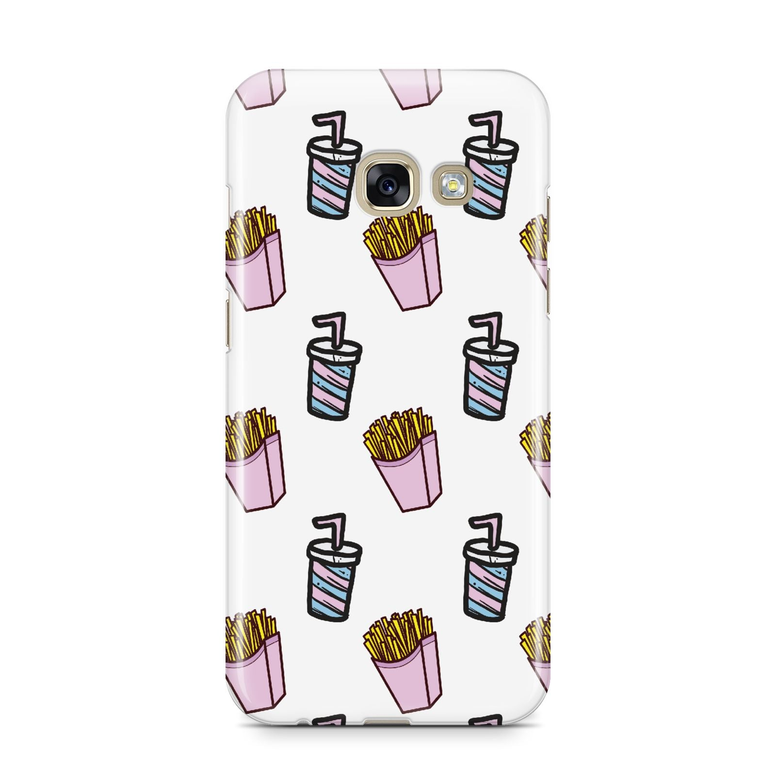 Fries Shake Fast Food Samsung Galaxy A3 2017 Case on gold phone