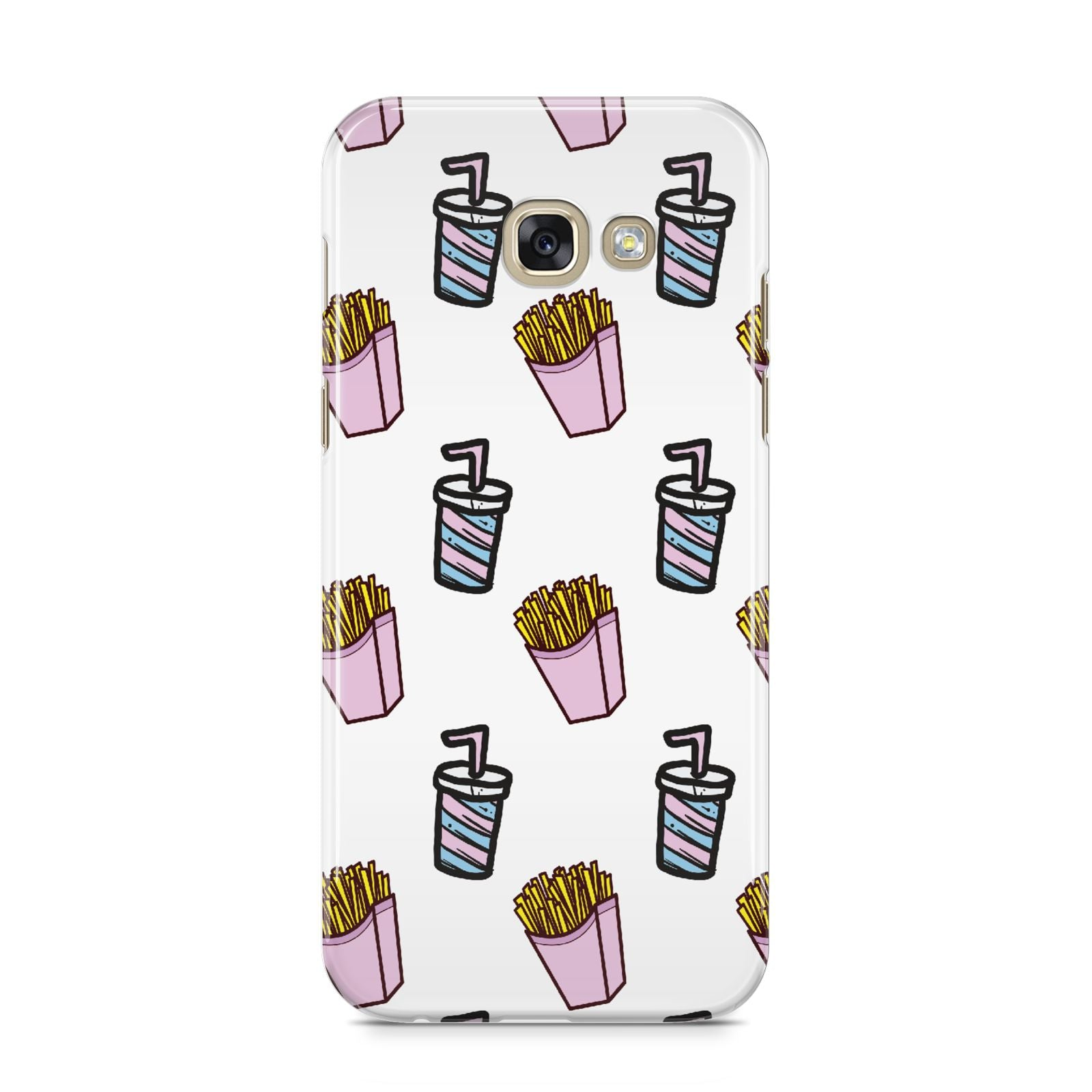 Fries Shake Fast Food Samsung Galaxy A5 2017 Case on gold phone