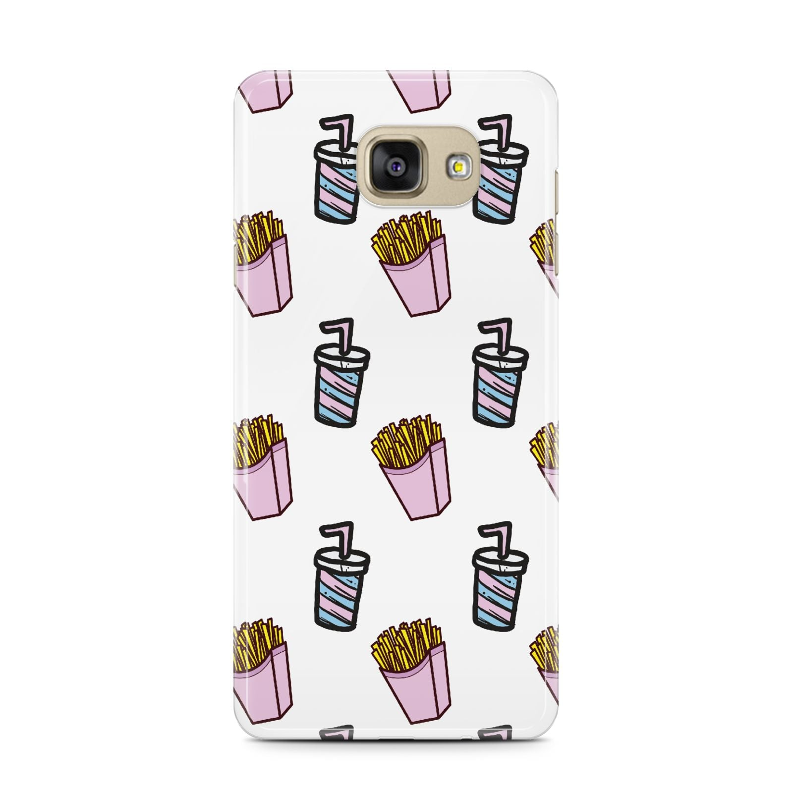 Fries Shake Fast Food Samsung Galaxy A7 2016 Case on gold phone