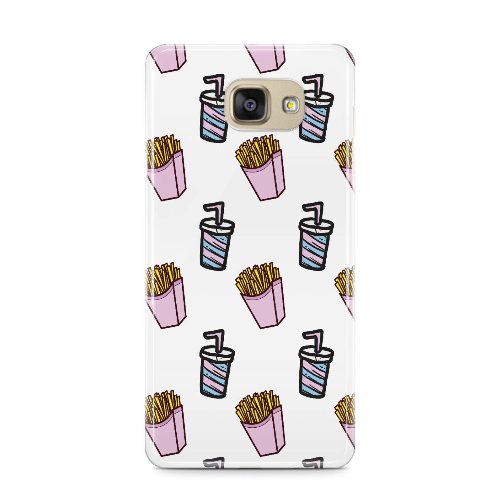 Fries Shake Fast Food Samsung Galaxy A9 2016 Case on gold phone