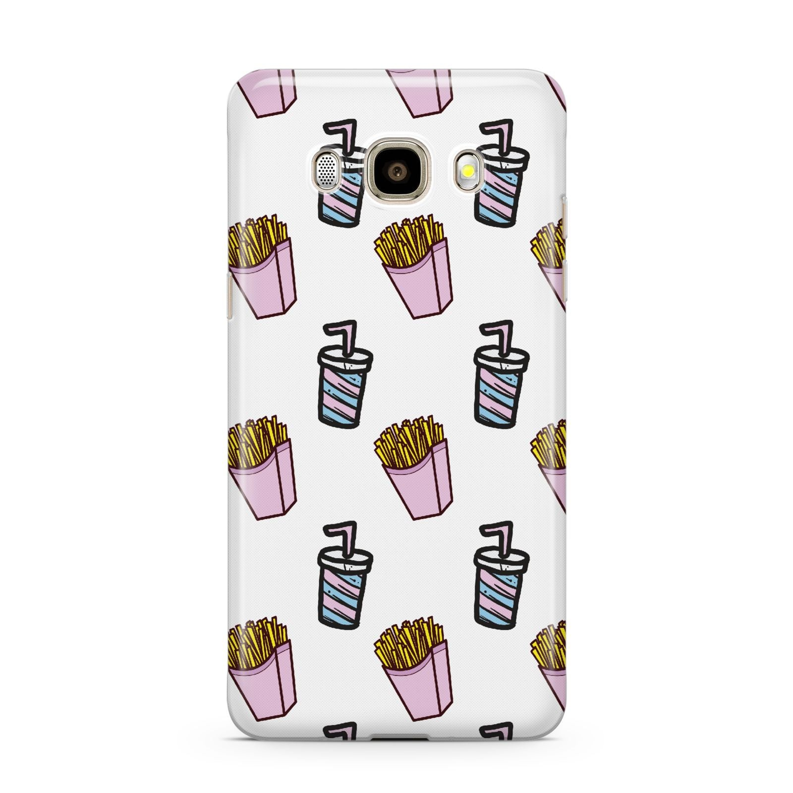 Fries Shake Fast Food Samsung Galaxy J7 2016 Case on gold phone