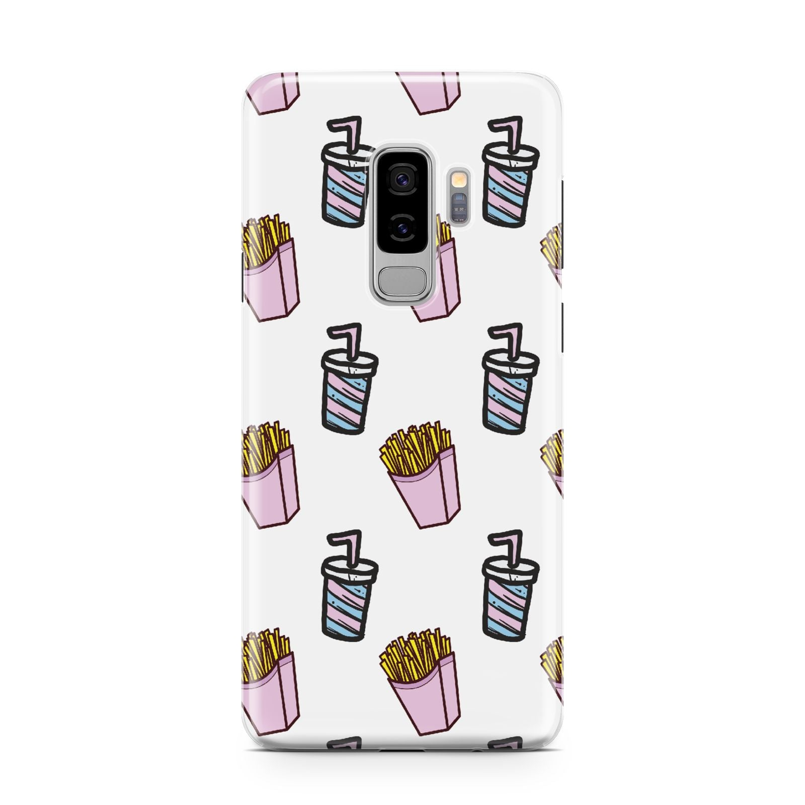 Fries Shake Fast Food Samsung Galaxy S9 Plus Case on Silver phone