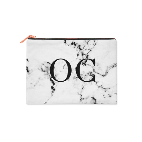 Black & White Personalised Monogram Marble Clutch Bag