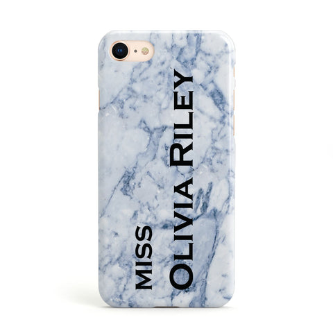 Full Name Grey Marble Apple iPhone Case