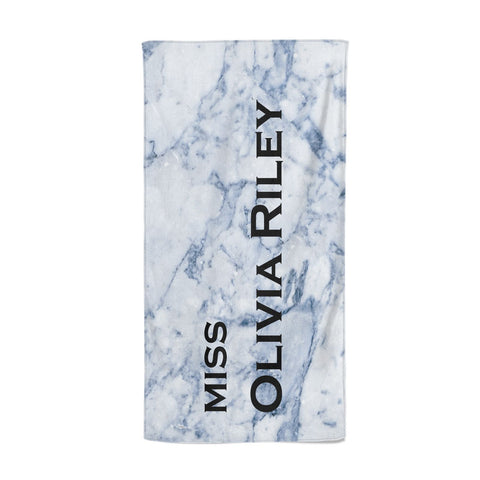 Full Name Grey Marble Beach Towel
