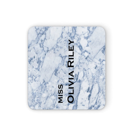 Full Name Grey Marble Coasters set of 4