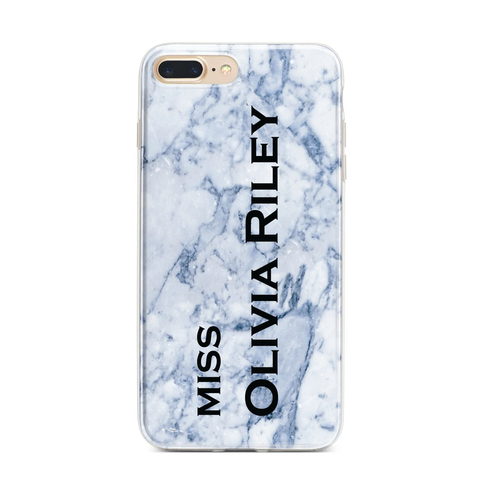 Full Name Grey Marble iPhone 7 Plus Bumper Case on Gold iPhone