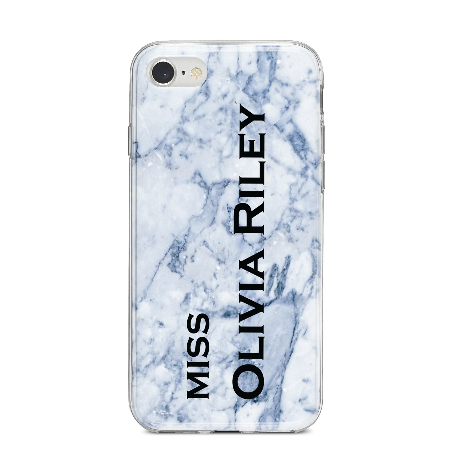 Full Name Grey Marble iPhone 8 Bumper Case on Silver iPhone