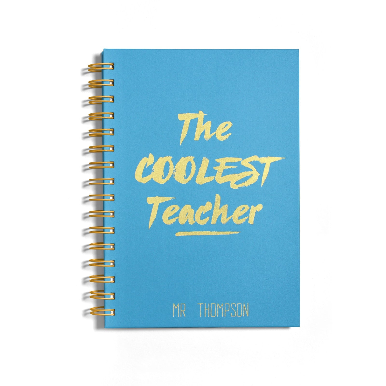 Personalised Coolest Teacher Gold Foil Notebook