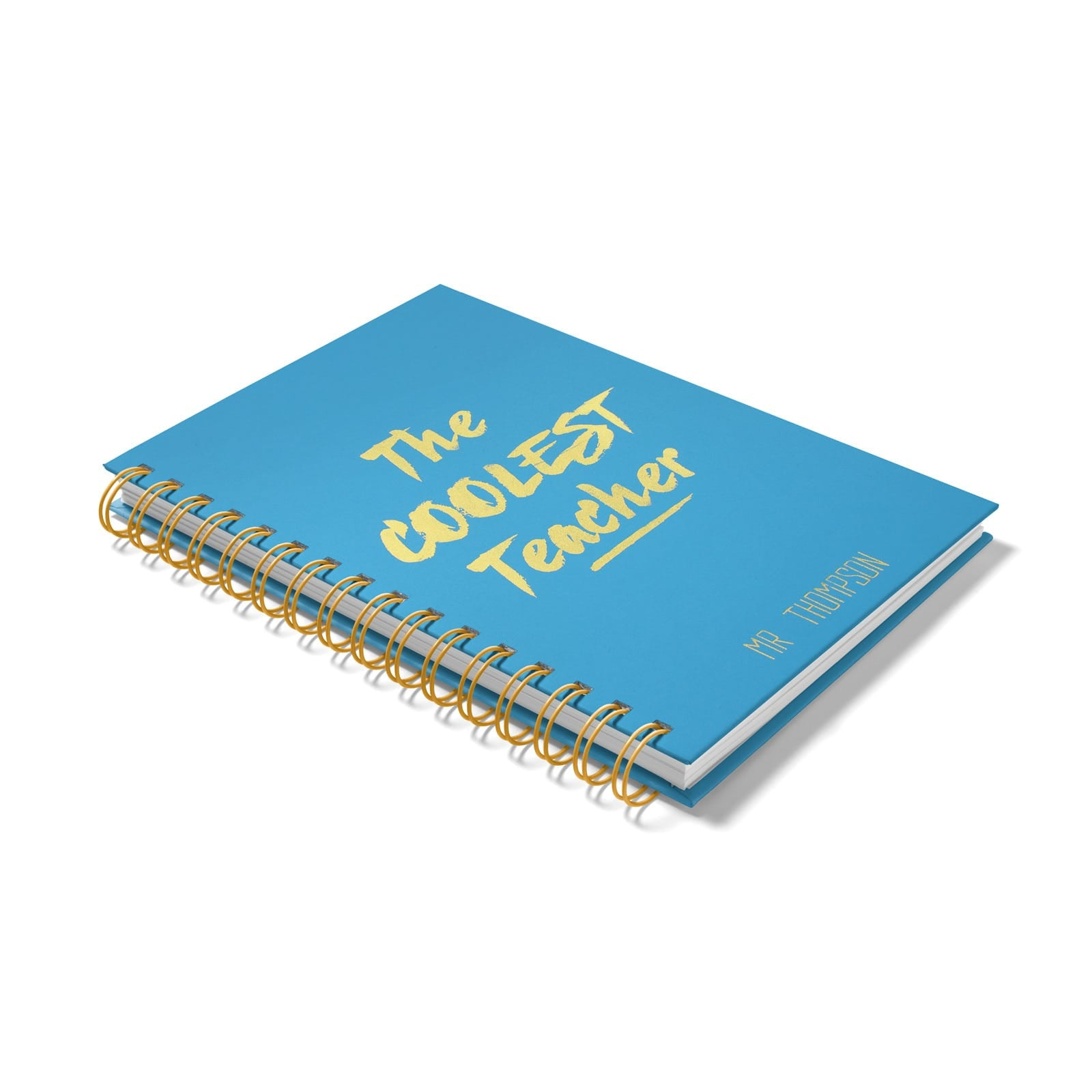 Personalised Coolest Teacher Gold Foil Notebook Side View