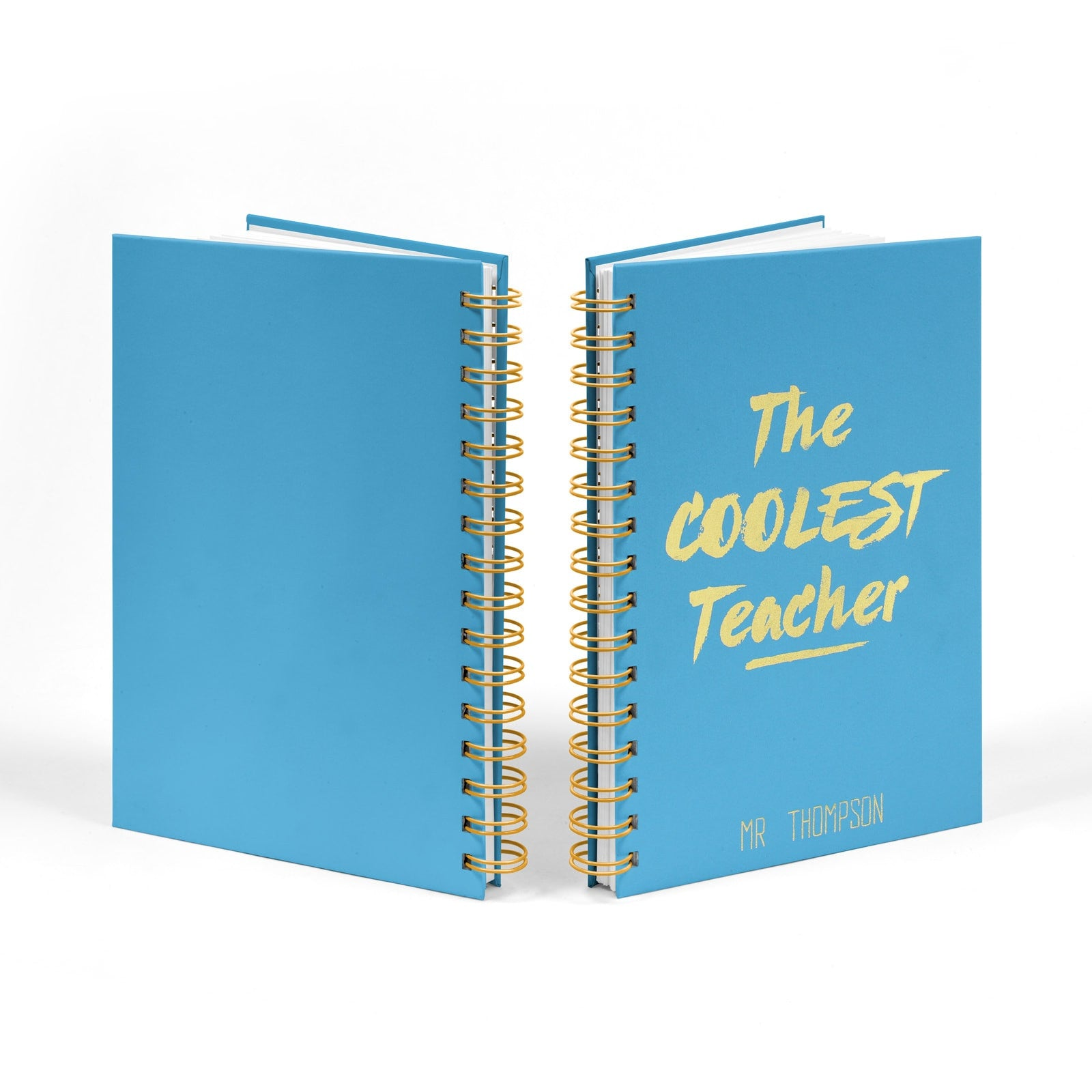 Personalised Coolest Teacher Gold Foil Notebook Front & Back