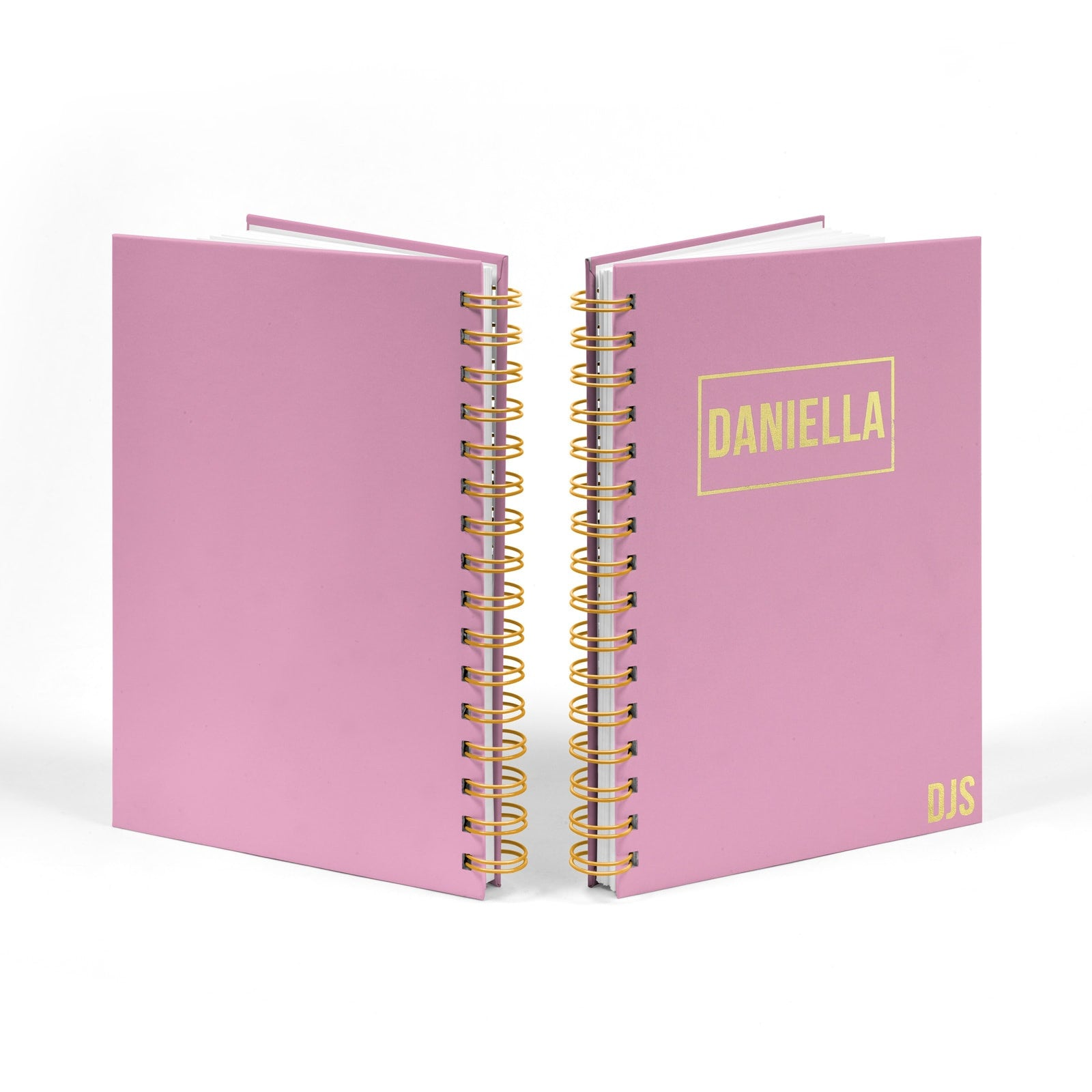 Personalised Gold Foil Notebook with Name & Initials Front and Back